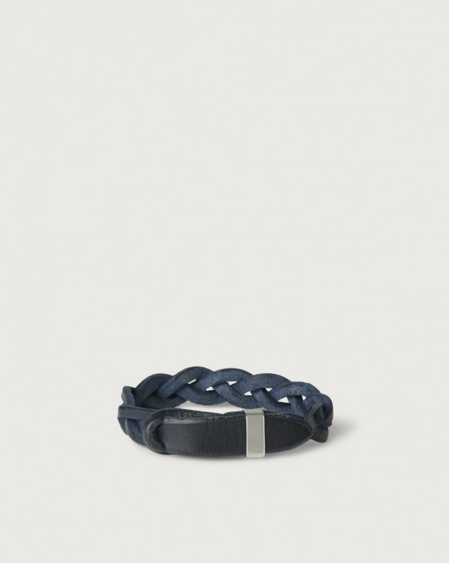 Orciani Walk leather Nobuckle bracelet with silver detail Leather Deep Blue