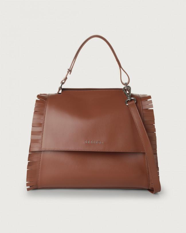 Orciani Sveva Fringe medium leather shoulder bag with strap Leather Cognac