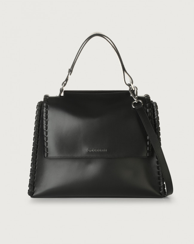 Orciani Sveva Liberty Mesh medium leather shoulder bag with strap Black