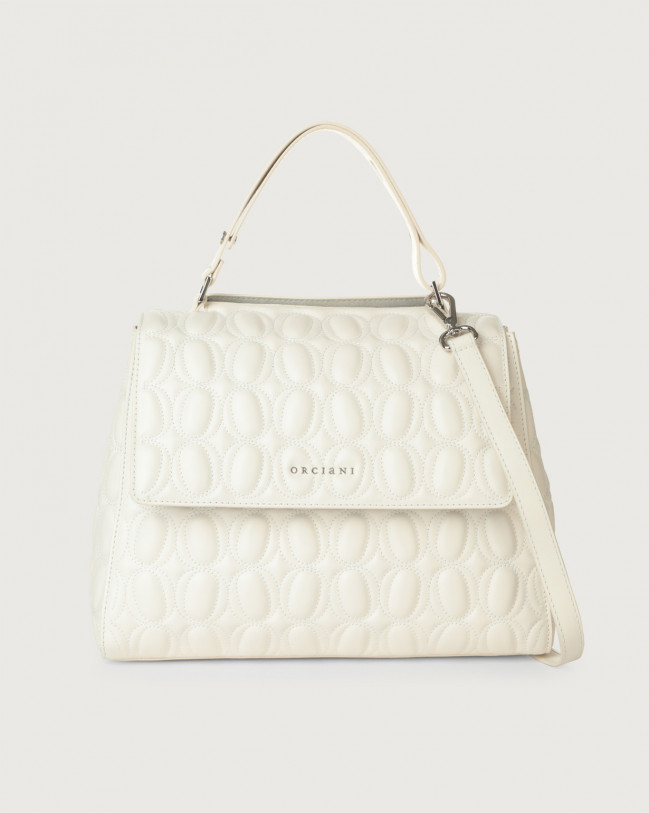 Orciani Sveva Matelassé medium leather shoulder bag with strap Leather White
