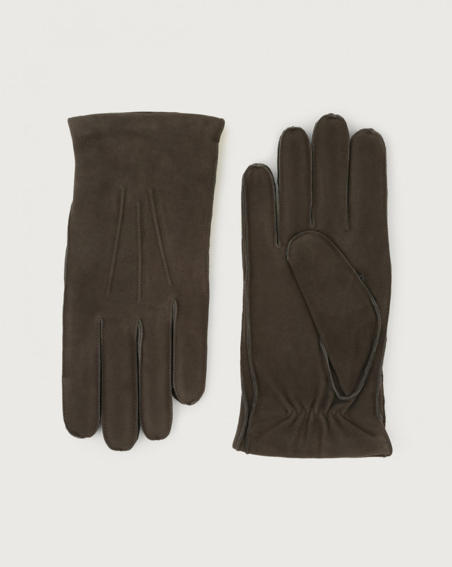 Orciani Shiver suede gloves Cashmere, Suede, Wool Grey
