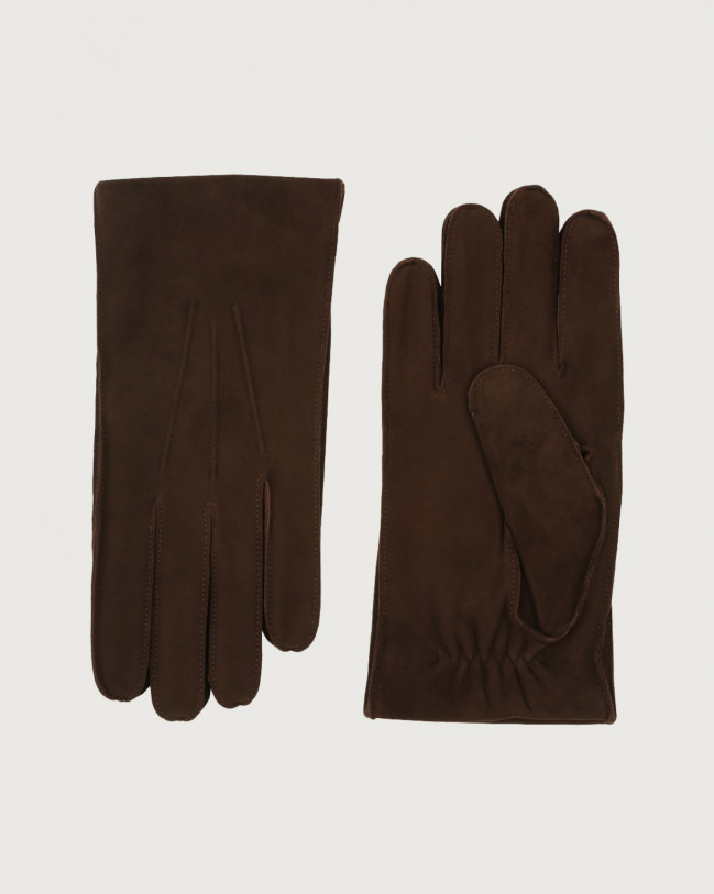 Orciani Shiver suede gloves Cashmere, Suede, Wool Chocolate