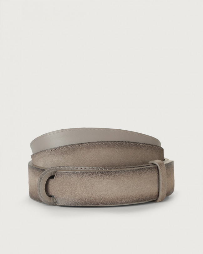 Orciani Cloudy suede Nobuckle belt Leather, Suede Taupe