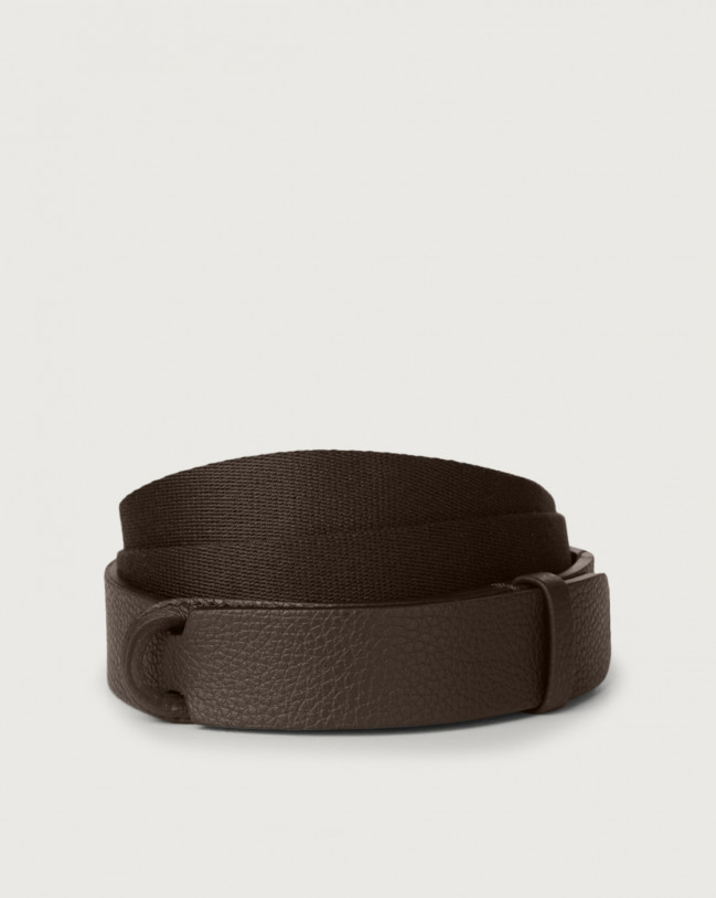 Orciani Micron leather and fabric Nobuckle belt Leather & fabric Chocolate