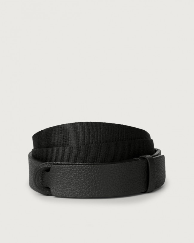 Orciani Micron leather and fabric Nobuckle belt Leather & fabric Black