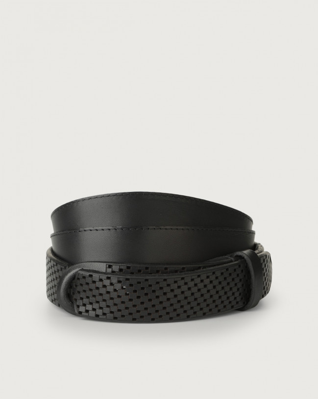 Orciani Bull Soft leather Nobuckle belt Leather Black