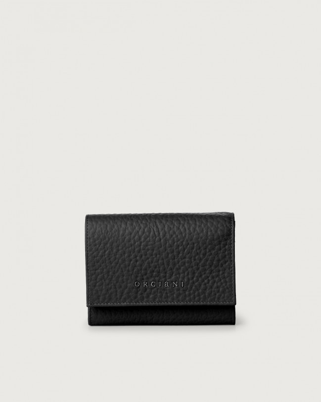 Orciani Soft small leather envelope wallet with RFID Leather Black