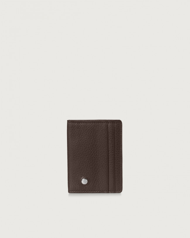 Orciani Micron hinge opening leather card holder Leather Chocolate