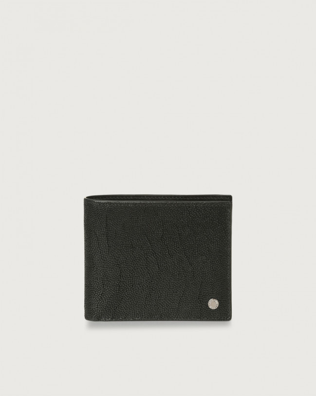 Orciani Frog leather wallet with coin pocket and RFID Embossed leather Chocolate