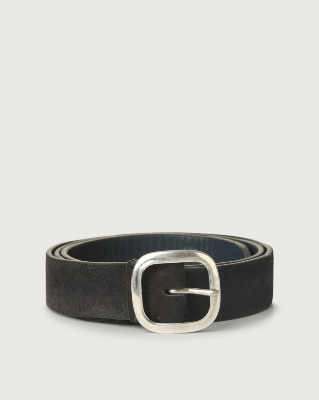 Orciani Hunting Double suede belt Leather, Suede Grey