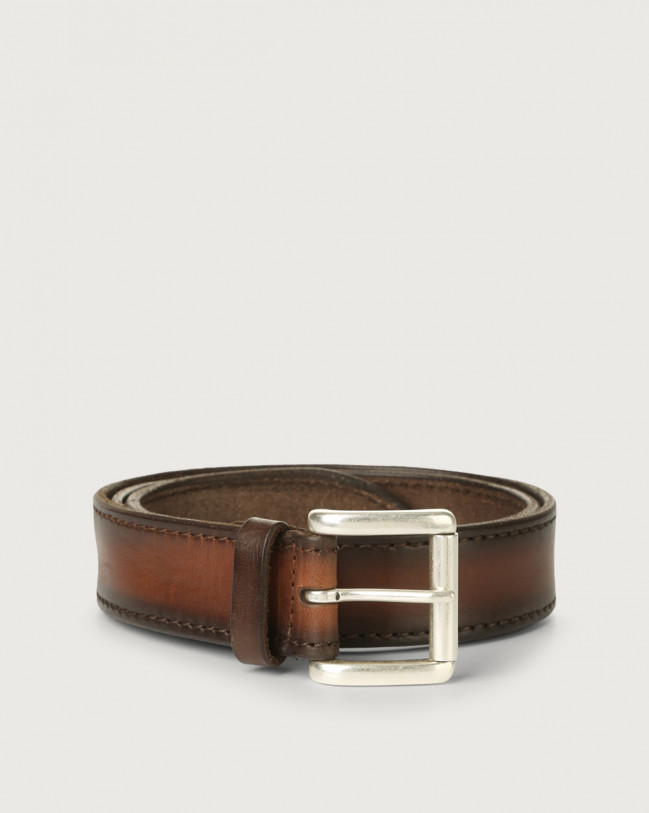 Orciani Buffer leather belt with roller buckle Leather Cognac