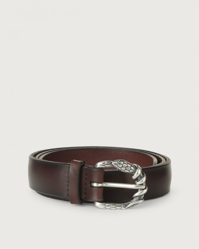 Orciani Bull Soft A leather belt 3 cm Leather Chocolate