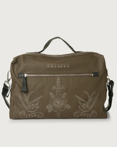 Bond Skin fabric and leather duffle bag