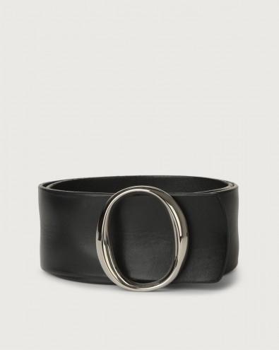 Bull Soft high-waist leather belt with monogram buckle