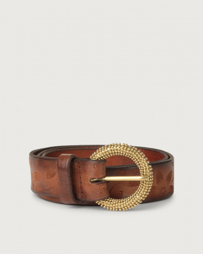 Stain floral pattern leather belt