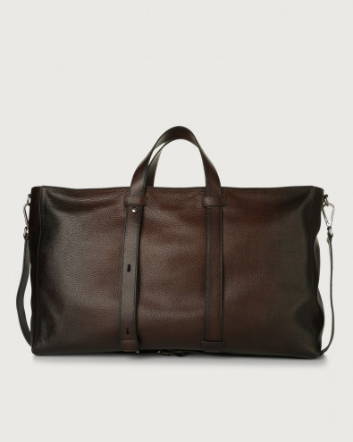 Micron Deep large leather weekender bag