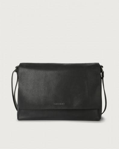 Chevrette leather messenger bag