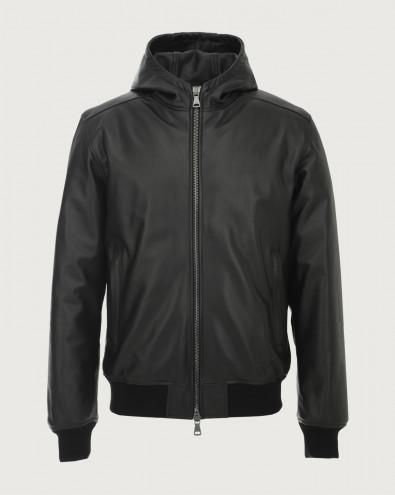 Nappa leather jacket with hood
