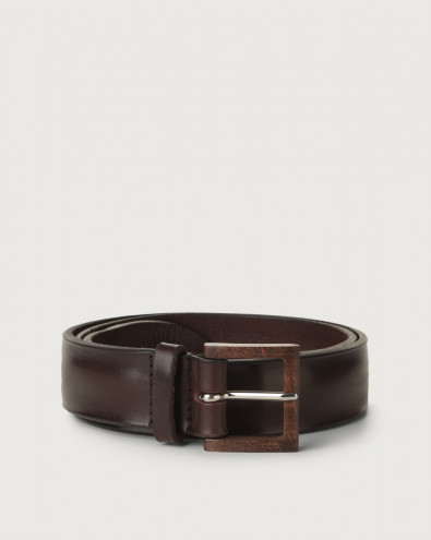 Bull Soft leather belt with wooden buckle
