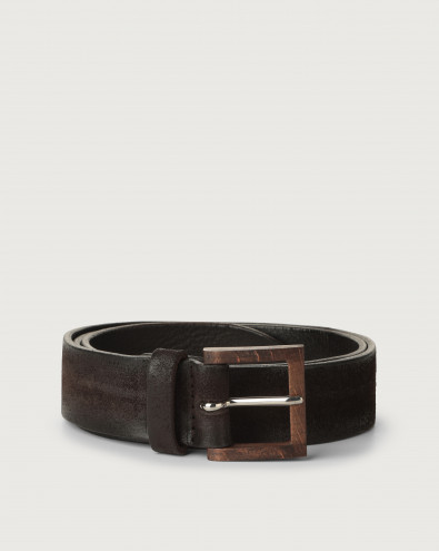 Hunting suede belt with wooden buckle