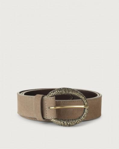 Sensory suede belt with monogram buckle