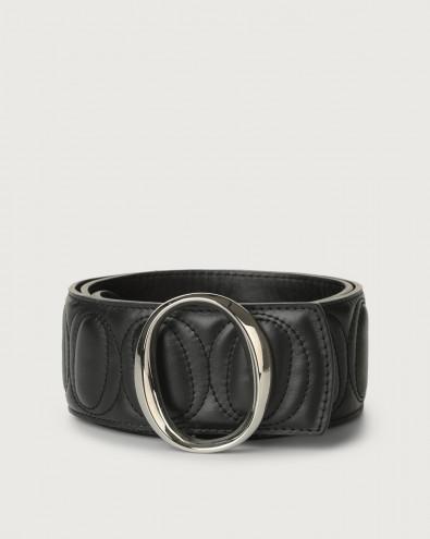 Matelassé high-waist leather belt