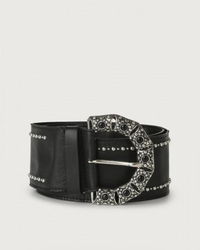 Natur cabochon buckle leather sash belt