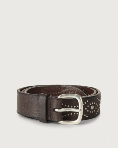 Chevrette micro-studs leather belt