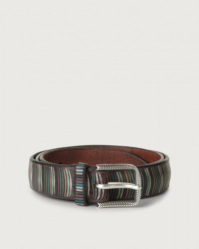 Brackets leather belt