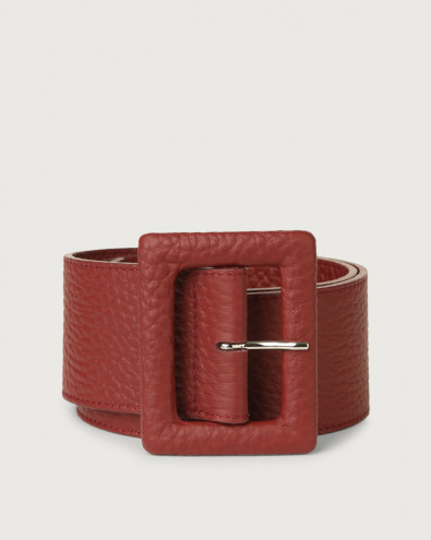 Soft high waist leather belt with covered buckle