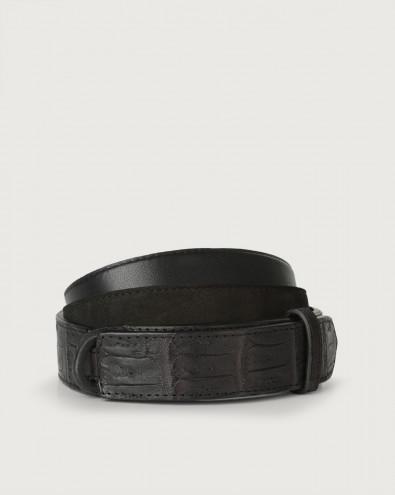Camoscio cocco crocodile leather and suede Nobuckle belt