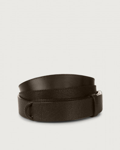 Frog embossed leather Nobuckle belt