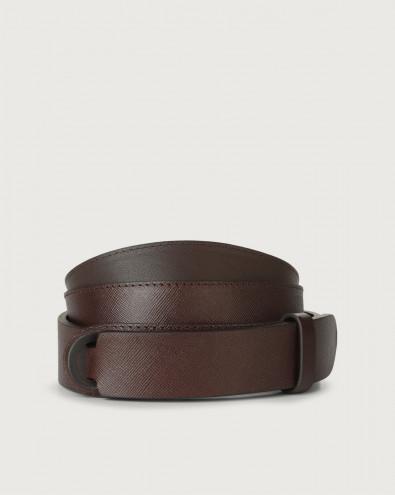 Saffiano leather Nobuckle belt