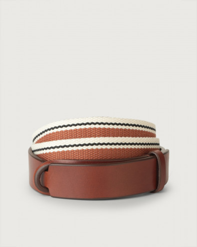 Line leather and fabric Nobuckle belt