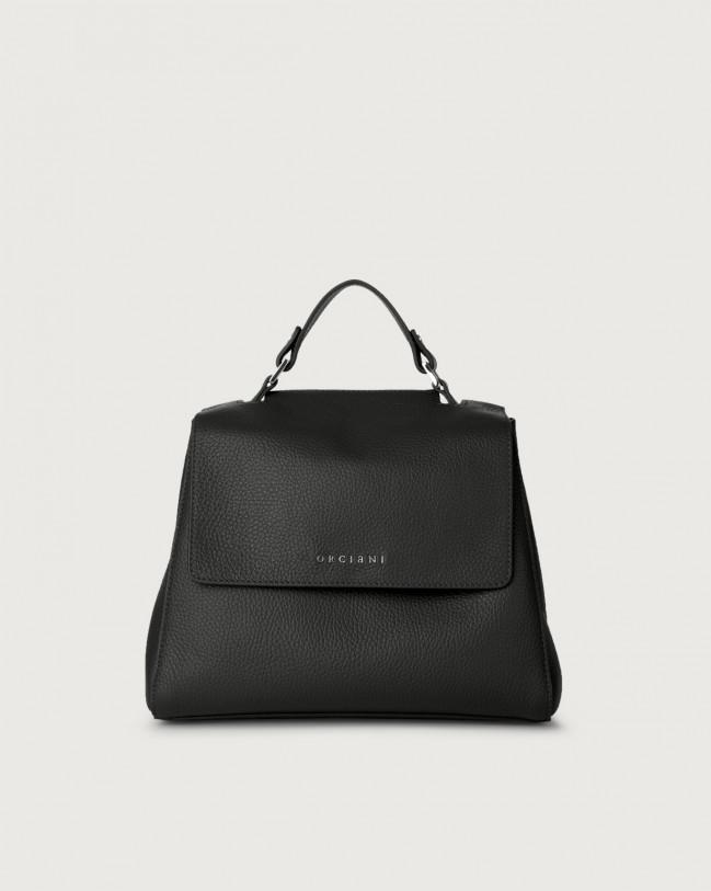 Orciani Sveva Micron small leather handbag with strap Leather Black