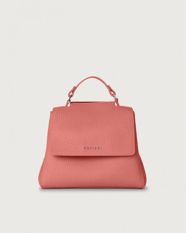 Orciani Sveva Soft small leather handbag with strap Leather Pink