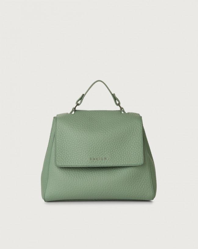 Orciani Sveva Soft small leather handbag with strap Leather Sage Green