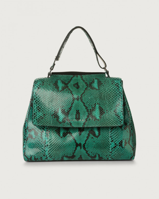 Orciani Sveva Diamond medium python leather shoulder bag Python Leather Emerald Green