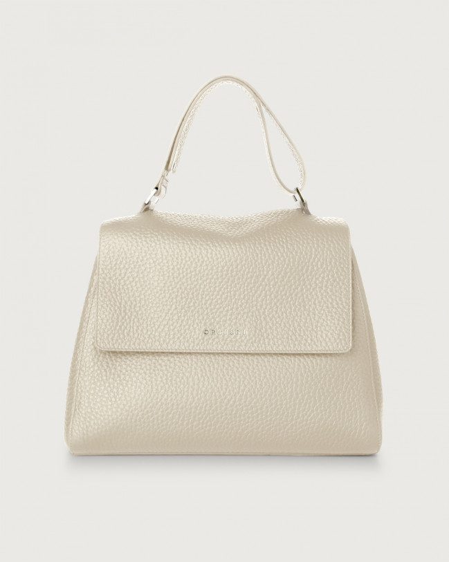 Orciani Sveva Soft medium leather shoulder bag Leather Ivory