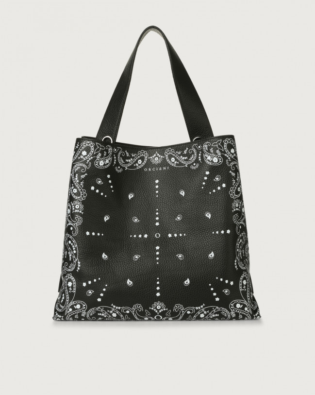 Orciani Jackie Bandanas leather shoulder bag Embossed leather Black