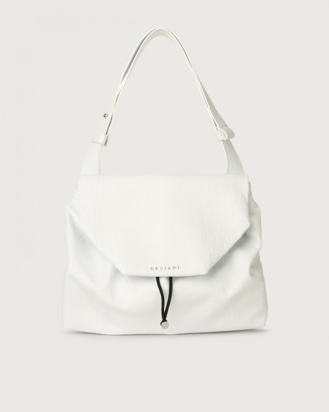 Orciani Alexa Kindu croc-effect leather shoulder bag with flap Embossed leather White