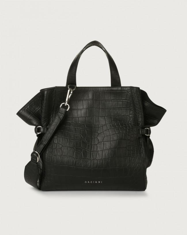 Orciani Fan Kindu medium croc-effect leather handbag Embossed leather Black