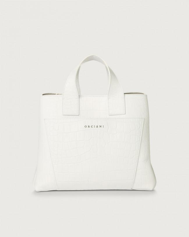 Orciani Nora Kindu croc-effect leather handbag Leather White