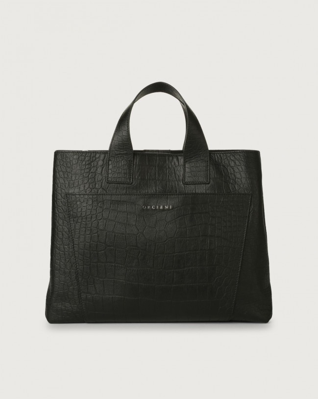 Orciani Nora Kindu large croc-effect leather handbag Embossed leather Black