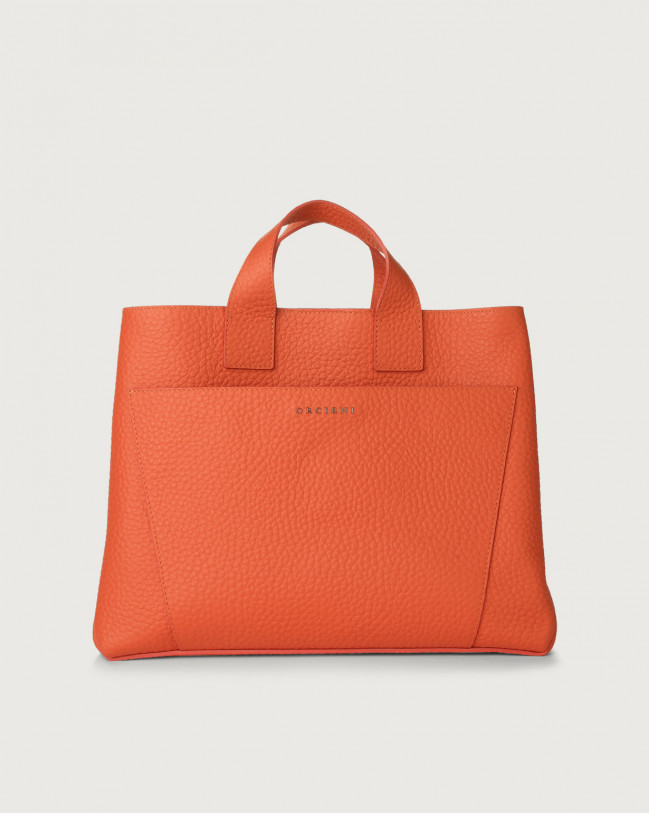 Orciani Nora Soft large leather handbag Leather Coral