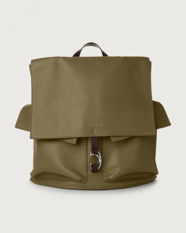 Orciani Scout Micron leather backpack Leather Green
