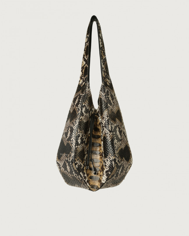 Orciani Palma Naponos python leather shoulder bag Python Leather Sand