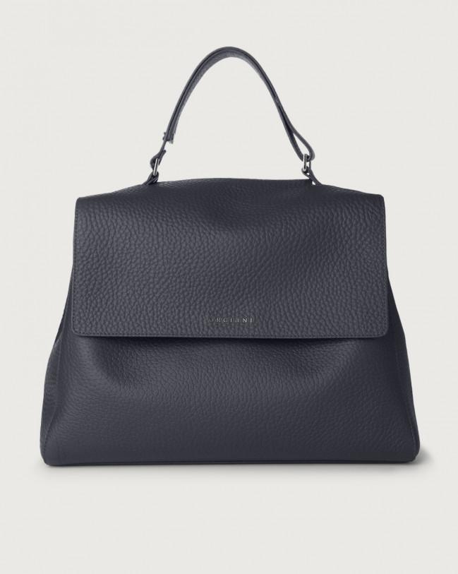 Orciani Sveva Soft large leather shoulder bag with strap Leather Navy