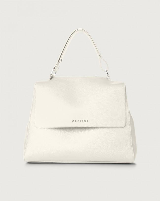 Orciani Sveva Micron medium leather shoulder bag with strap Leather White