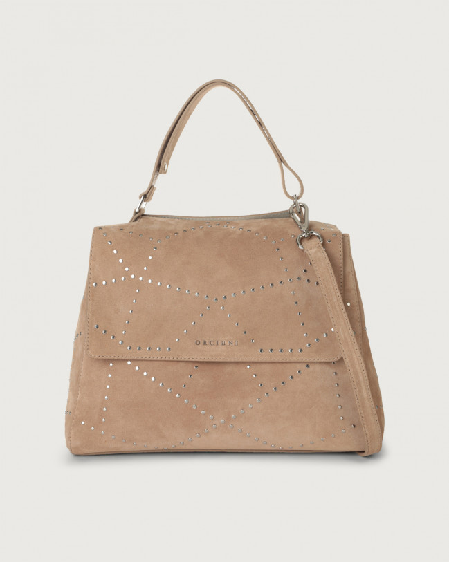 Orciani Sveva Savage medium suede shoulder bag with strap Suede Sand